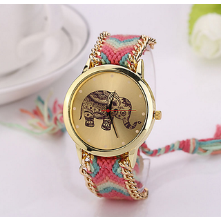 Round Dial Multicolor Fabric Analog Watch For Women