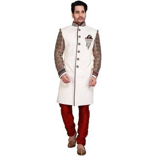 Abc Garments White Silk Self Design Sherwani For Mens