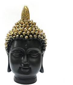LOF Polyresin Black and Golden Buddha Head Face Figurine Home Decoration Gift For Diwali