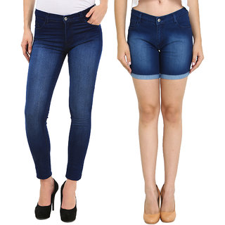 Fuego Fashion Wear Combo Of Jeans And Shorts For Women-Pack Of 2