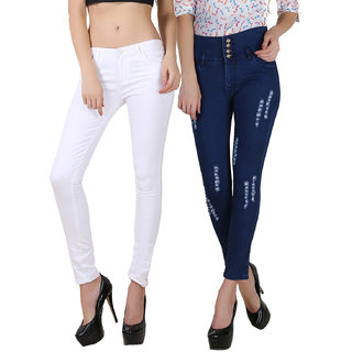 Fuego Women Fashion Wear White And Blue Four Button Jeans For Women-Pack Of 2