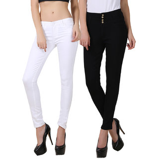 Fuego Women Fashion Wear White And Black Four Button Jeans For Women-Pack Of 2