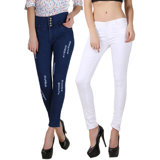 Fuego Women Fashion Wear Four Button Blue And White Jeans For Women-Pack Of 2