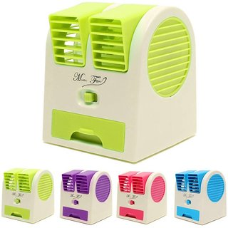 Hy Touch Super Mini Fan Air Cooler with Water Tray Portable Desktop Dual Bladeless Air Cooler USB New Fan cooler
