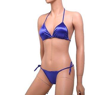 Dark Blue Sexy Satin Bikini Set Hot 2pc G-String Bra  Panty Fun Bed Lingerie