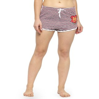 KOTTY Striped Cotton Shorts For Women