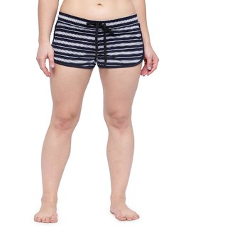 KOTTY Striped Cotton Shorts For Women