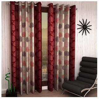Beautiful Small Tree Design Maroon Color Eyelet Polyester Curtain Door Length (Pack of 3 Pcs) 84x48