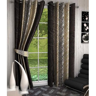 Beautiful Tree Design Brown Color Eyelet Polyester Curtain Door Length (Pack of 3 Pcs) 84x48
