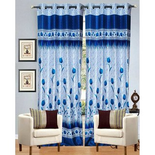 Beautiful Flower Panel Design Turquoise Color Eyelet Polyester Curtain Door Length (Pack of 3 Pcs) 84x48