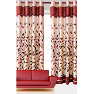 New Panel Leaves Design Maroon Color Eyelet Polyester Curtain Door Length (Pack of 3 Pcs) 84x48