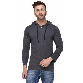 Rigo Charcoal Melange Hooded Full Sleeve Tshirt for Men