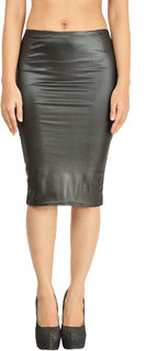 Women PU Leather Coated/ Faux Leather Women Imported Knee Length Skirt