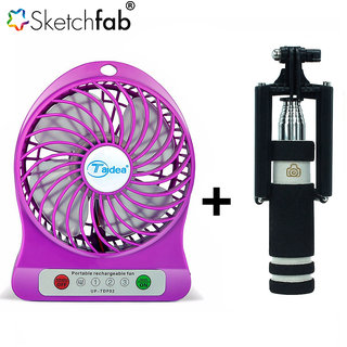 Sketchfab Combo of Rechargeable Battery USB Mini Fan Selfie Stick mini with Aux cable - Assorted Color