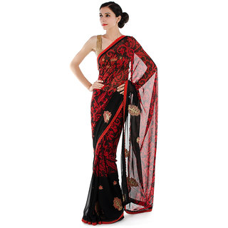 794e433d0ac2c2 Red   Black Saree with Floral Embroidery