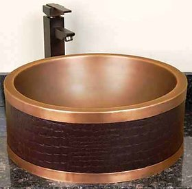 REMAC FAUX LEATHER DOUBLE-WALL COPPER VESSEL SINK