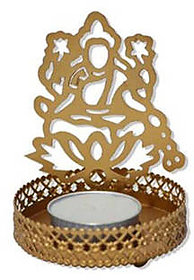 Satya Shadow Laxmi Ji' Steel Tea Light Holder (7 cm x 7 cm x 10 cm)Without Candle