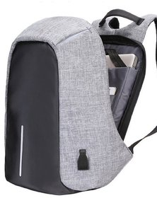 Home Story Medium Waterproof Anti Theft and USB Charging Casual Backpack Laptop Bag for 14 Laptops, Grey Black Color