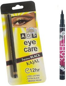 ADS Eye care Kajal with Sketch Pen Eyeliner  (Set of 2)