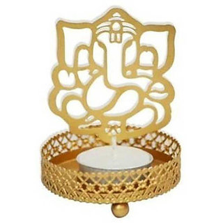 Satya Shadow Ganesh Ji' Steel Tea Light Holder (7 cm x 7 cm x 10 cm) Without Candle