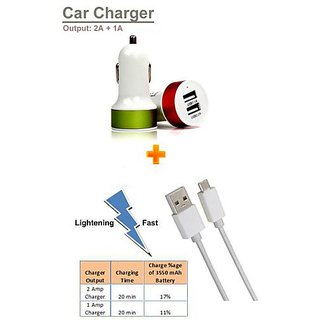 Pinnaclz Combo of Dual USB Car Charger 2 Amp + Micro USB 2 Amp Data Sync Cable (Assorted Colour)