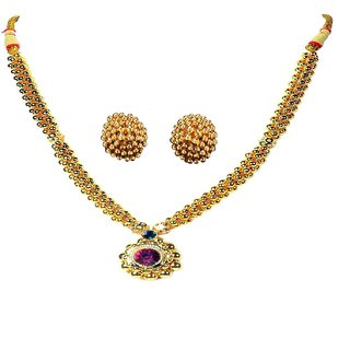 Soubhagya Jewellers Traditional Saaj Ghat Thushi With Earrings