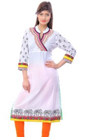 Zhiraa White Printed Kurti For Women