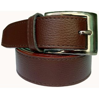 RoxelCraft Mens Brown Leatherite Needle Pin Point Buckle Belt (Synthetic leather/Rexine)