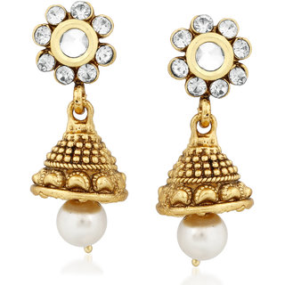 13c5b37f44 Meenaz Jewellery Gold Plated Kundan Pearl Necklace Set Mang Tikka Ear rings  for girls Jewellery Set