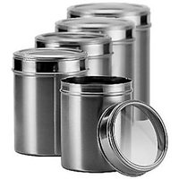 Dynore Stainless Steel Kitchen storage Canisters with see through lid - Set of 5 - Size 8,9,10,11,12