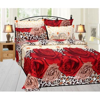 Beautiful Double Bed Sheet With 2 Pillow Cover