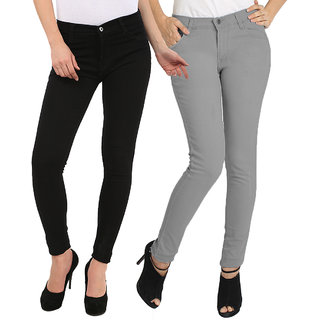 FUEGO FASHION WEAR BLACK AND GREY JEANS FOR WOMEN-PACK OF 2