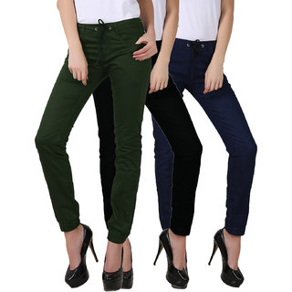 Fuego Fashion Wear Green,Black And Blue Joggers For Women Pack Of 3
