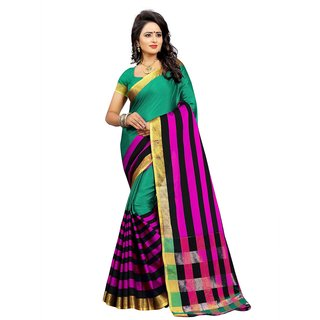 Redfish Women's Multicolor Cotton Saree With Blouse