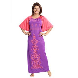 Be You Serena Satin Purple Paisley Printed Women Nightgown