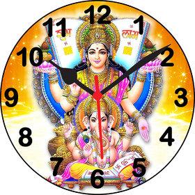 3d luxmi ganeshji black number wall clock