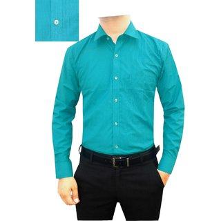 Granix Men's Formal Full Sleeves Blue Color Striped Regular Fit Shirts