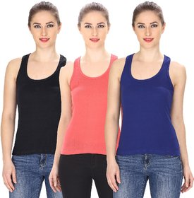Friskers Multicolor Casual Cotton Plain Tank Tops (Pack of 3)
