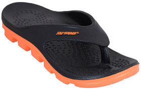 Solethreads Black-Orange Color Slippers For Men