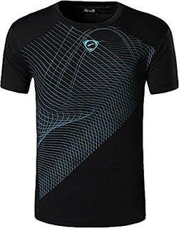 Athlero Dri Fit black round neck t shirt with blue design