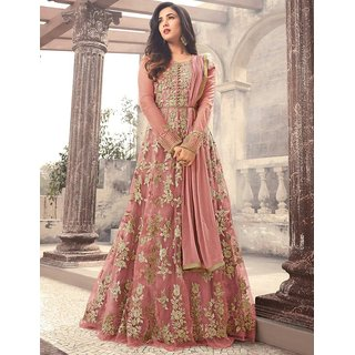 Buy Salwar Soul Womens Heavy Latest Designer Peach Color Long Gown