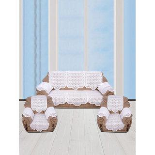 Vivek  Homesaaz  Multi Embossed 5 Seater Net Sofa Cover Set -16 Pieces