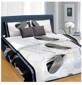 Z decor Feather Print White Polycotton 1 Double Bed Sheet with 2 Pillow Covers - Size 90 Inches * 90 Inches