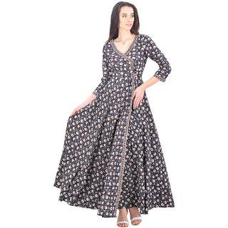 Baansuri Black Anarkali Angrakha Long Dress Stitched Suit - Small