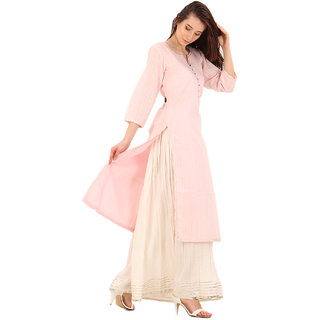 Baansuri Light Pink A Line Gotta Kurti Wrinkle Plazo Set - Small