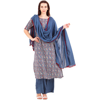 Baansuri Blue Cotton A- Line Suit with Mulmul Dupatta - Small