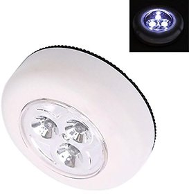 Futaba 3-LED Push Touch Lamp Mini Round Emergency Light with Stick Tape - White
