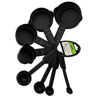 8Pcs Plastic Measuring Cup and Spoon Set ( Black )