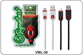 Signature VML-36 2.0amp Micro Usb  Fast Charging cable and data transfer cable (White/Black)