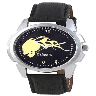Crazeis Black Dial Black Round Strap Casual-PartyWear Watch for Men-Boys